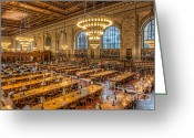 Clarence Holmes Greeting Cards - New York Public Library Main Reading Room IX Greeting Card by Clarence Holmes