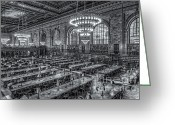 Rose Main Reading Room Greeting Cards - New York Public Library Main Reading Room X Greeting Card by Clarence Holmes