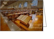 Rose Main Reading Room Greeting Cards - New York Public Library Rose Main Reading Room  Greeting Card by Susan Candelario