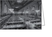 Rose Main Reading Room Greeting Cards - New York Public Library Rose Room bw Greeting Card by Susan Candelario