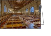 Rose Main Reading Room Greeting Cards - New York Public Library Rose Room  Greeting Card by Susan Candelario