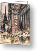 Masterpiece Drawings Greeting Cards - New York Wall Street - Drawing Illustration Greeting Card by Peter Art Prints Posters Gallery