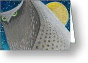 Lipton Greeting Cards - Night Falls-Owl 1 Greeting Card by Aprille Lipton
