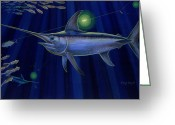 Mako Shark Greeting Cards - Night Life Greeting Card by Carey Chen