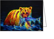 Contemporary Greeting Cards - Night of the Grizzly Greeting Card by Teshia Art