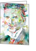Tesla Greeting Cards - NIKOLA TESLA watercolor portrait.2 Greeting Card by Fabrizio Cassetta