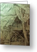 Featured Drawings Greeting Cards - Nipa Hut 1 Greeting Card by Bong Perez