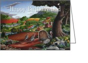 North Ceramics Greeting Cards - no11 Happy Birthday Dad Greeting Card by Walt Curlee