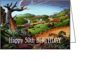 Regionalism Greeting Cards - no9 Happy 50th Birthday Greeting Card by Walt Curlee