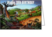 Regionalism Greeting Cards - no9 Happy 70th Birthday Greeting Card by Walt Curlee