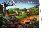 Regionalism Greeting Cards - no9 happy Birthday Grandpa Greeting Card by Walt Curlee