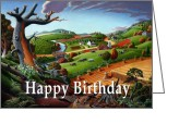 Regionalism Greeting Cards - no9 Happy Birthday Greeting Card by Walt Curlee