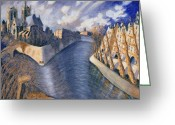 Size Different Greeting Cards - Notre Dame Cathedral Greeting Card by Charlotte Johnson Wahl
