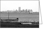 1990s Greeting Cards - NYC in the Distance 1990s Greeting Card by John Rizzuto