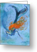 Mermaid Print Greeting Cards - Ocean Angel Greeting Card by Sandra Martin Hudgins