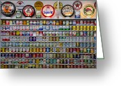 Logos Greeting Cards - Oil cans and gas signs Greeting Card by Garry Gay