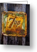 Advertisement Greeting Cards - Old 7 Up sign Greeting Card by Garry Gay