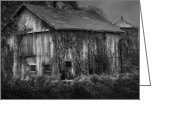 White Barns Greeting Cards - Old Barn Greeting Card by Bill  Wakeley