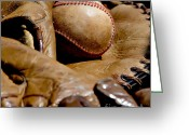 White Blocks Greeting Cards - Old Baseball Ball and Gloves Greeting Card by Art Blocks