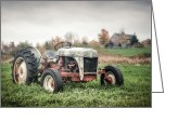 Cottage Chic Greeting Cards - Old FordTractor and farm house Greeting Card by Gary Heller