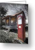 Old Cabins Greeting Cards - Old Gas Pump Greeting Card by Debra and Dave Vanderlaan