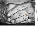 Women Greeting Cards - Old hands with wedding band Greeting Card by Elena Elisseeva
