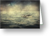 Old Man Fishing Greeting Cards - Old man and the sea Greeting Card by Taylan Soyturk