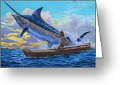 Marlin Azul Greeting Cards - Old Mans battle Greeting Card by Carey Chen