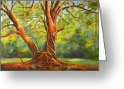 Mound Painting Greeting Cards - Old Oak with Vines Greeting Card by AnnaJo Vahle