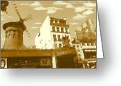 Aquarel Greeting Cards - Old Paris Sepia - Watercolor Drawing Greeting Card by Peter Art Prints Posters Gallery