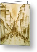 Old Street Drawings Greeting Cards - Old Philadelphia Greeting Card by Peter Art Prints Posters Gallery