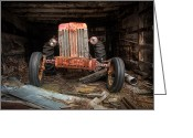 Shed Greeting Cards - Old Tractor- Industrial Decor - Farm Machinary - Tractor Face Greeting Card by Gary Heller