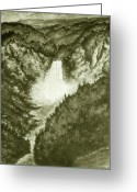 National Drawings Greeting Cards - Old Yellowstone - Drawing Illustration Greeting Card by Peter Art Prints Posters Gallery