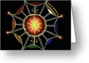 Embrace Drawings Greeting Cards - Omnipotent Embrace Greeting Card by Ellen Van der Molen