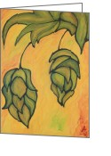 Color Image Painting Greeting Cards - On the Hop Vine Ready for Beer Greeting Card by Alexandra Ortiz de Fargher