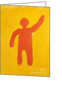 Aspiration Greeting Cards - Orange Person Greeting Card by Igor Kislev