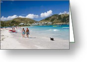 Horizon Over Land Greeting Cards - Orient Beach in St Martin FWI Greeting Card by David Smith