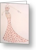 Fashion Illustration Pastels Greeting Cards - Oriental Fantasy Dress Greeting Card by Carolyn Corretti