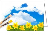 Paintbrush Photo Greeting Cards - Painting Daffodils Greeting Card by Christopher Elwell and Amanda Haselock