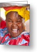 Laughing Greeting Cards - Palenquera in Cartagena Colombia Greeting Card by David Smith