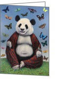 Panda Greeting Cards - Panda Buddha Greeting Card by James W Johnson