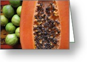 Papaya Greeting Cards - Papaya and Limes Greeting Card by Marianne Werner