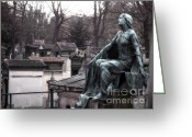 Mourner Greeting Cards - Paris - Female Figure Statue Mourner - Pere Lachaise Cemetery Greeting Card by Kathy Fornal