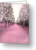 Tuileries Greeting Cards - Paris Pink Twinkling Lights Trees- Tuileries Greeting Card by Kathy Fornal