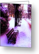 Park Benches Greeting Cards - Park Benches Greeting Card by Nina Ficur Feenan