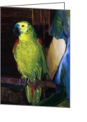 Featured Greeting Cards - Parrot Greeting Card by George Wesley Bellows
