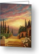 Cypress Tree Greeting Cards - Patio il Tramonto or Patio at Sunset Greeting Card by Evie Cook