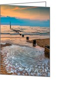 Beach Scenery Greeting Cards - Patterns on the Beach  Greeting Card by Adrian Evans
