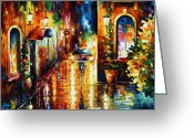 Leonid Afremov Greeting Cards - Paying A Visit New Greeting Card by Leonid Afremov