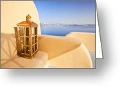 Veranda Greeting Cards - Peaceful hour Greeting Card by Aiolos Greece Collection